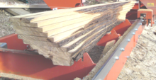 Seasoned hardwood planked using sawmill