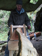 Participant in a green woodwork taster session at the woods